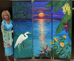 Three Panel Tropical Mural