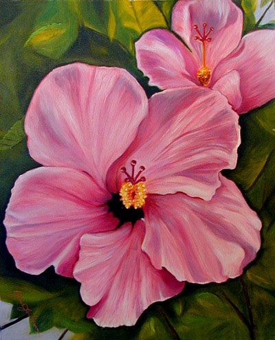 Double Pink Hibiscus Oil Painting