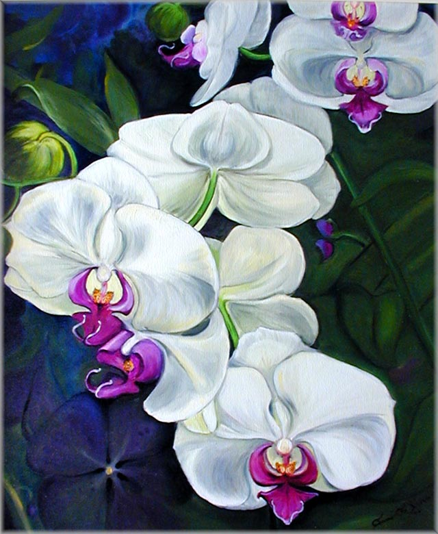 White Orchid Oil Flower Painting