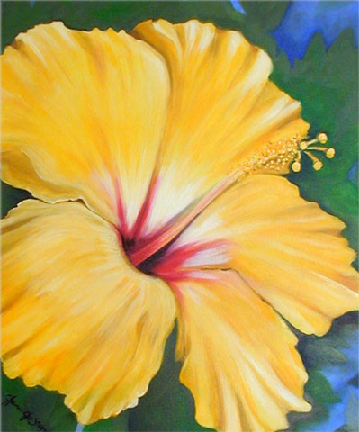 Flower paintings by key west artist janis stevens for How to paint flowers with oil paint