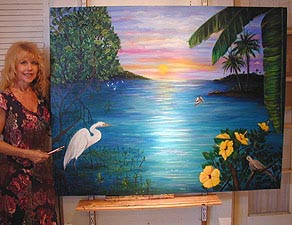 Artist Janis Stevens with Keys Seascape