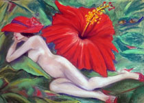 Hibiscus with Nude Woman Tropical Print