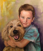 Pastel Portrait of Boy and Dog