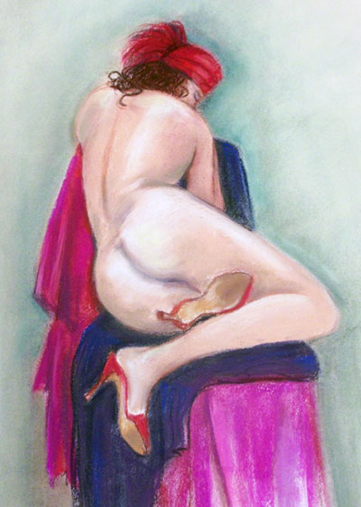 Red Hat and Shoes Nude Painting