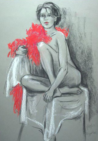 Lady in Red Nude Painting