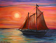 Sunset Schooner Oil Painting