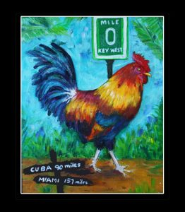 Southernmost Rooster Matted Art Print