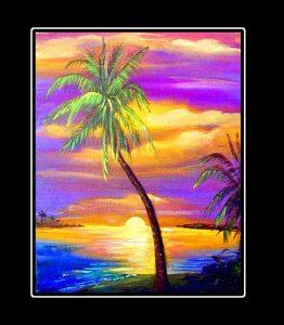 Lone Palm Matted Art Print